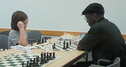 Ezra Boldizsar and Barry Malcolm in a cross-section pairing. Ezra played up to the Silver section and had three spirited games.